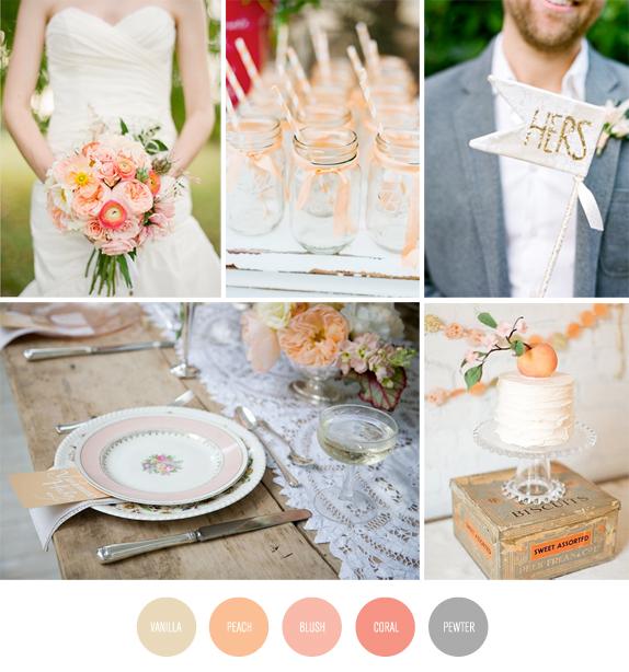 Peach and Grey Vintage Wedding Color Inspiration Board