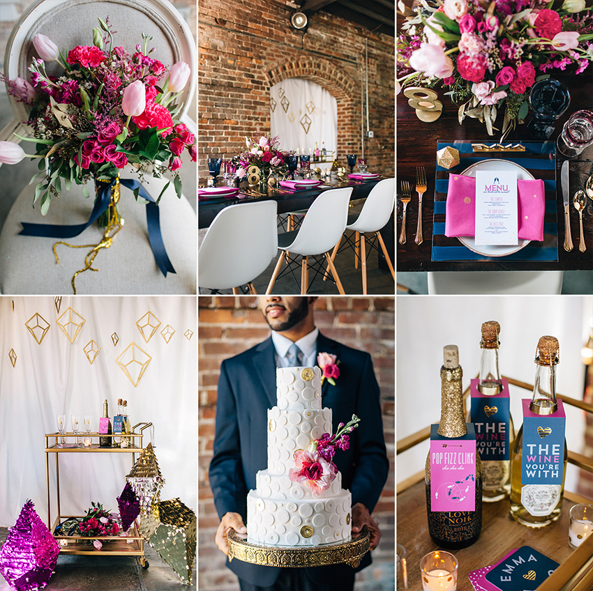 Modern Pink & Gold wedding inspiration in downtown Tampa loft venue