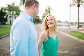 cute engagement photos in downtown St. Pete