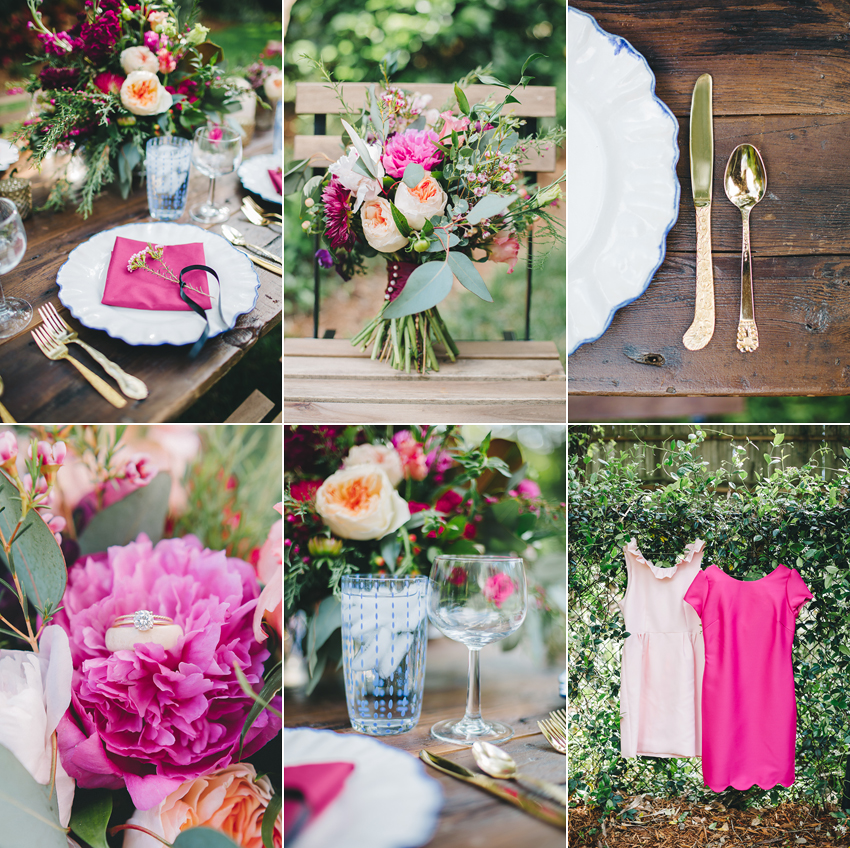 southern garden wedding ideas and inspiration with gold flatware, anthropologie chargers on a rustic vintage farm table, stylish placesettings, and a loose romantic bouquet
