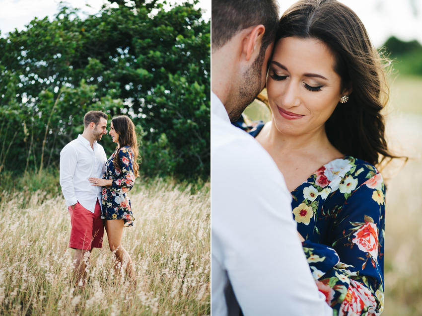Engagement photos in an overgrown field at Sunset in Florida