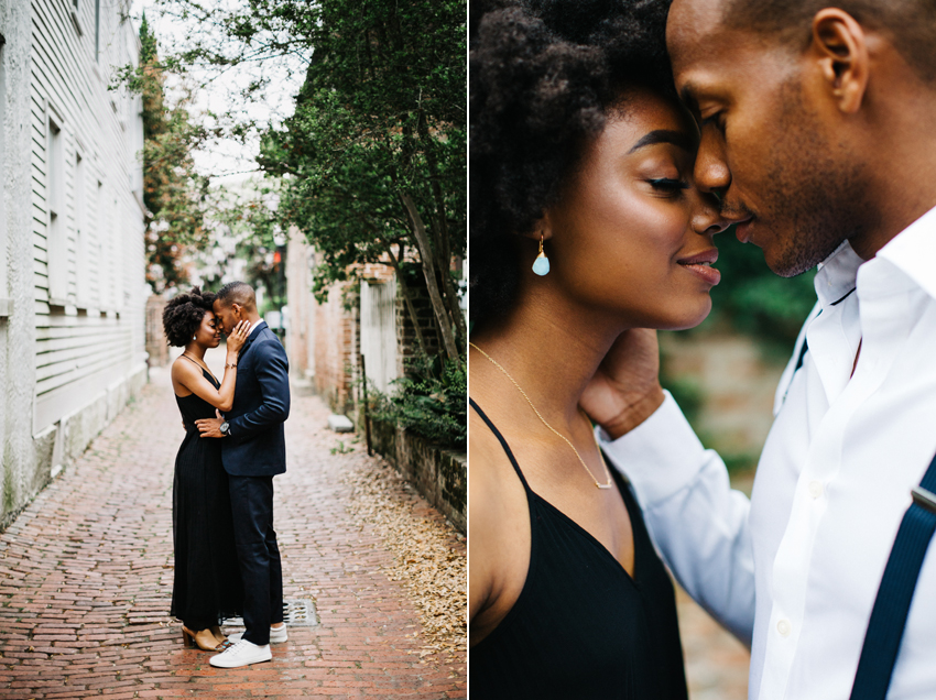 natural light engagement session in downtown charleston