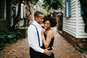 sweet and romantic engagement session photos in historic downtown charleston, south carolina