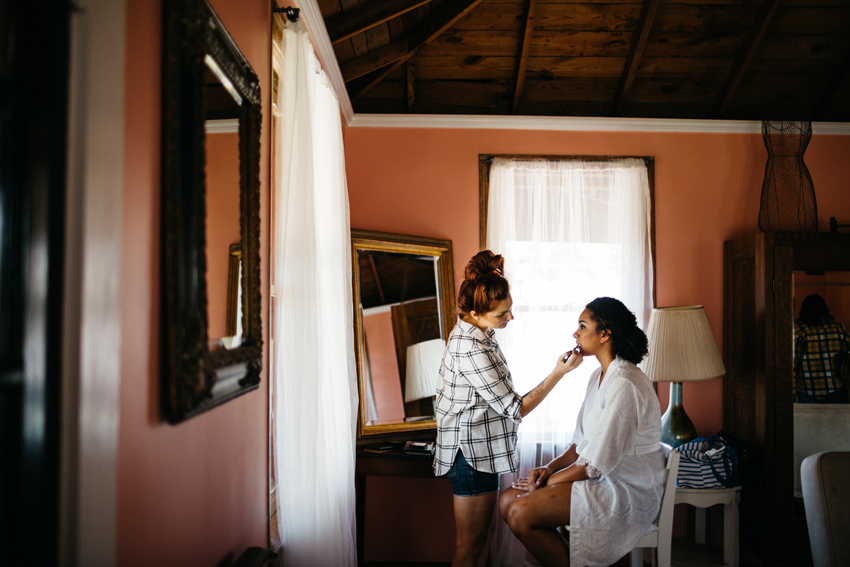 getting ready in the bridal suite at The Acre orlando with lots of natural window light