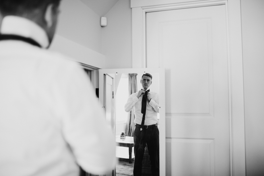 Groom getting ready before the ceremony