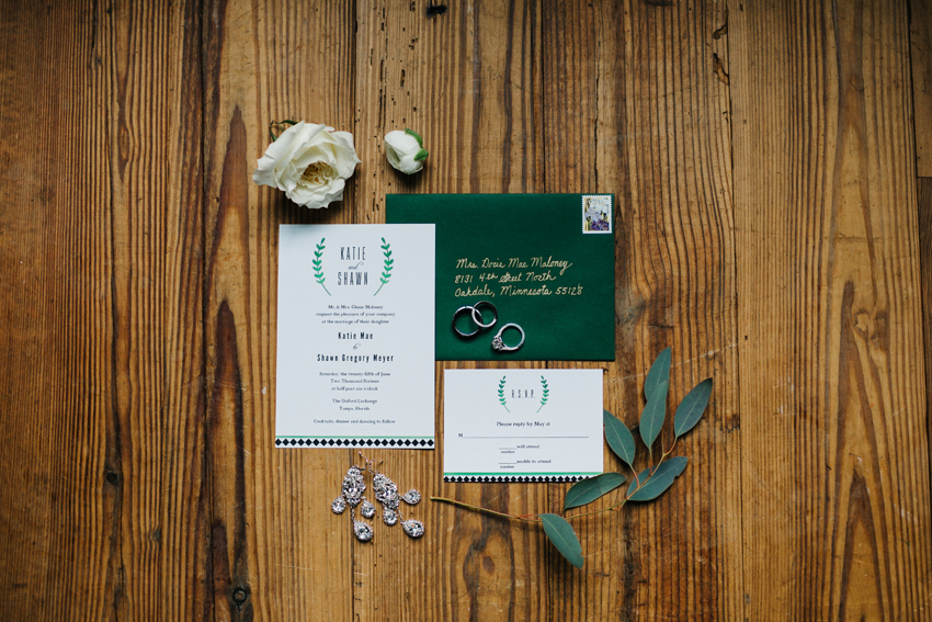 Emerald and white wedding invitation details