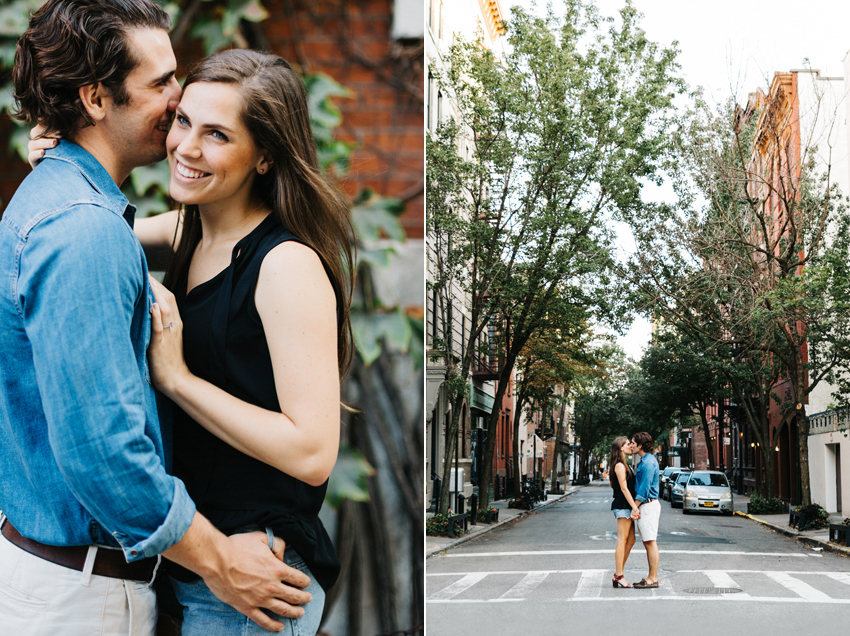 Romantic engagement photos in the urban streets of the west village