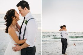 Florida waterfront sunset wedding photography using natural light. Photos of the bride wearing a flowy BHLDN wedding gown twirling around and laughing on the beach in Fort Desoto.