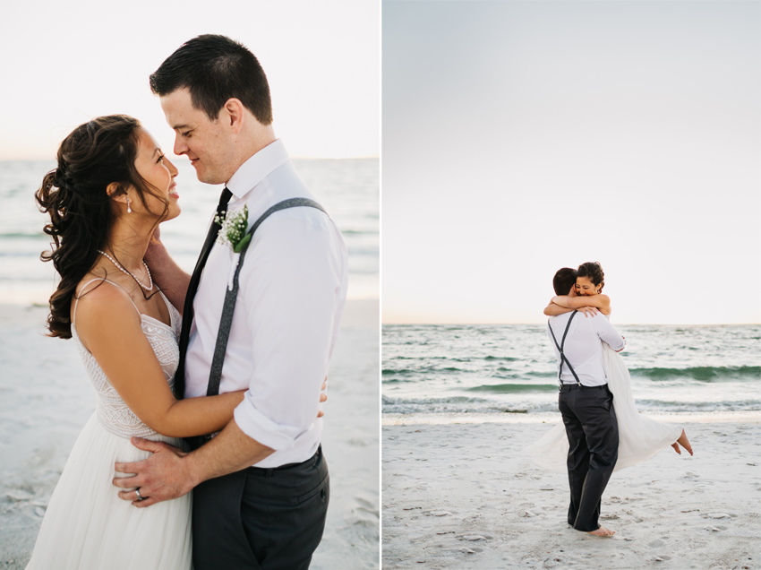 Florida sunset intimate wedding photography using natural light. Photos of the bride wearing a flowy BHLDN wedding gown twirling around and laughing on the beach in Fort Desoto.