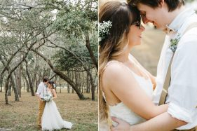 Woodsy Boho Wedding at The Lange Farm under the oak trees and a barn reception with twinkle lights