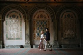 Casual, romantic engagement photos at Bethesda Terrace by New York City wedding photographer