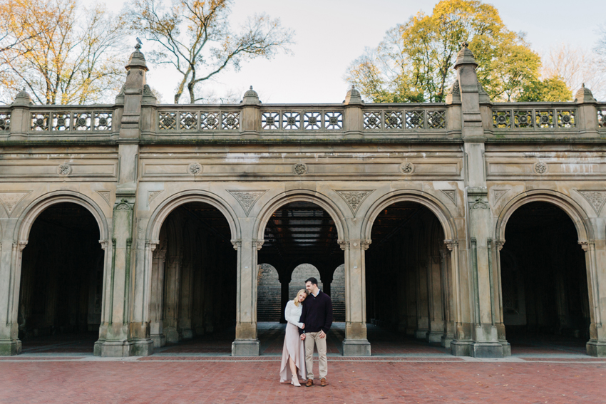 Romantic, natural light engagement session at Bethesda Terrace in New York City by Brooklyn wedding photographer