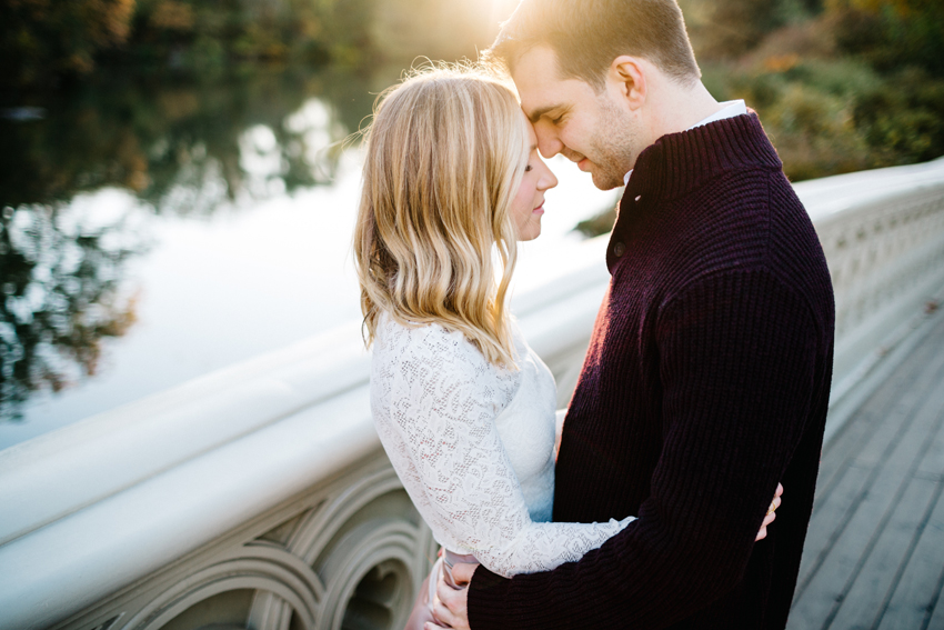 Golden sunrise engagement session in New York City in the fall