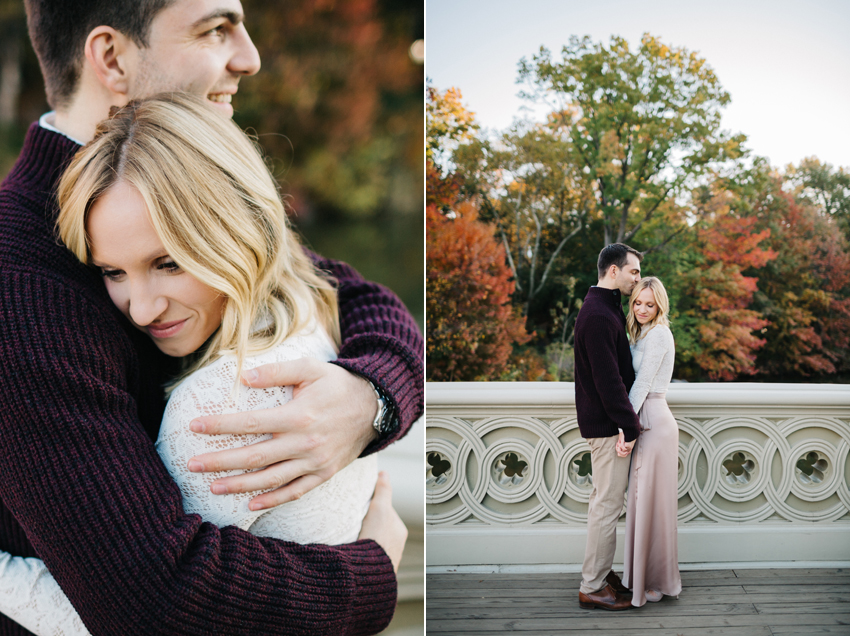 Sweet fall engagement session in New York City at sunrise