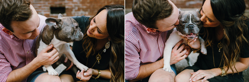 Cute engagement photos with a puppy in an urban setting in downtown Tampa