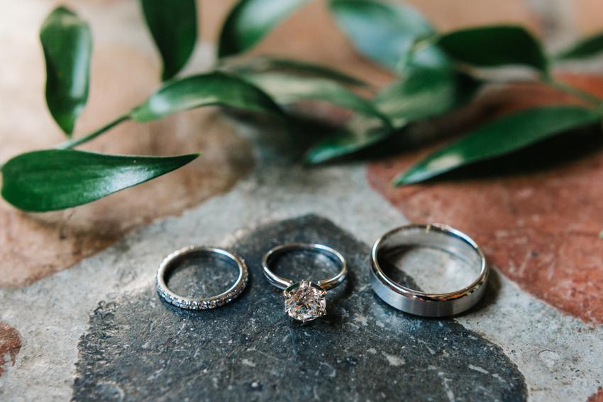 closeup detailing of wedding bands