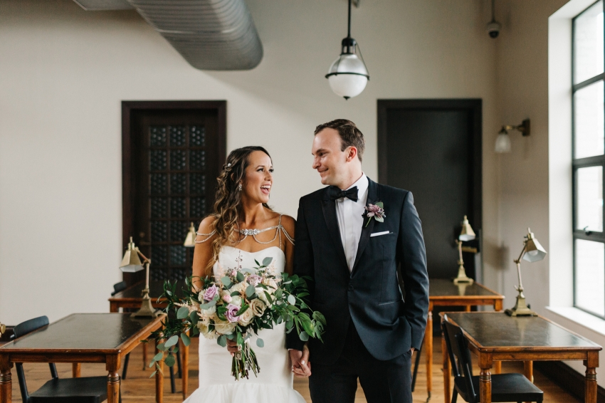 Oxford Exchange wedding photographer in downtown Tampa in an industrial urban venue