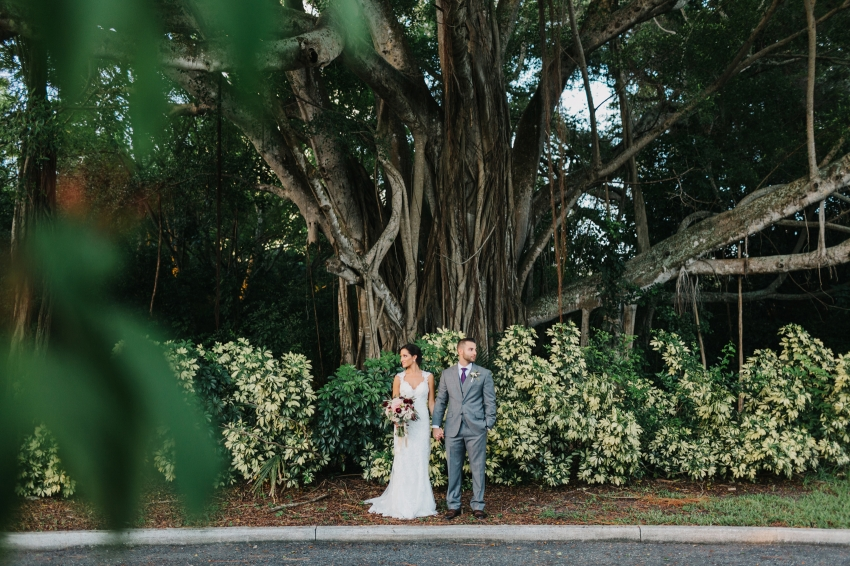 Wedding photos under the banyan trees at the historic Powel Crosley Estate