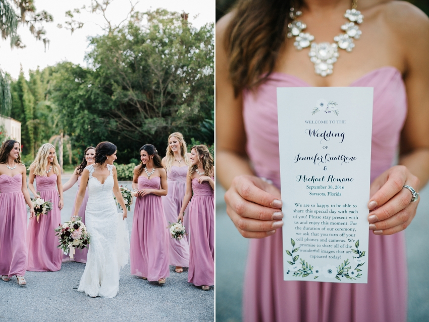 Candid bridal party photos at the Powel Crosley Estate in Sarasota FLorida