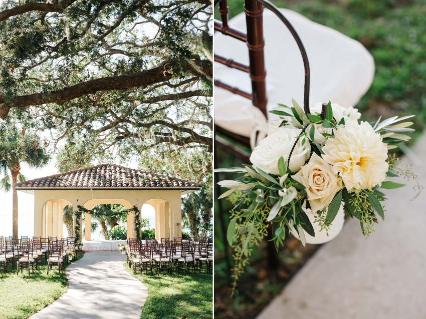 Lush garden wedding ceremony at the Powel Crosley Estate in Sarasota with waterfront views