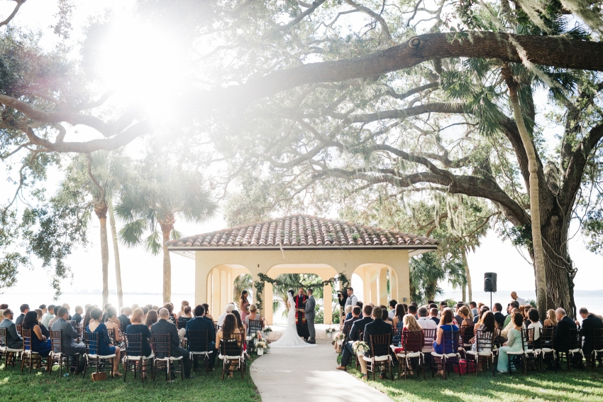Waterfront ceremony views at the historic Powel Crosley Estate