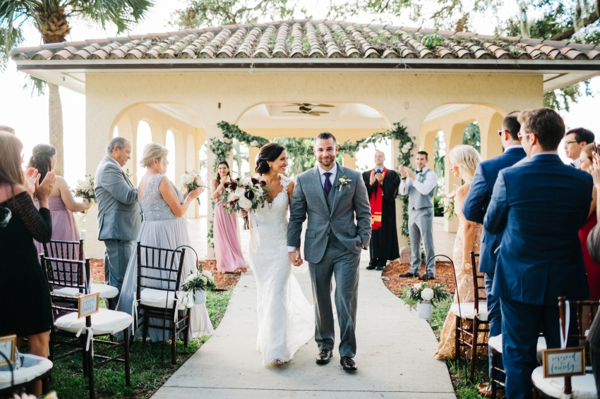 Waterfront wedding ceremony at the Powel Crosley Estate