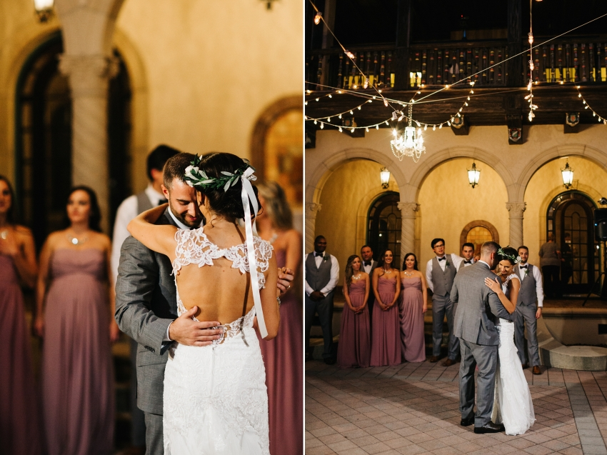 Romantic first dance under the twinkle lights in Florida wedding