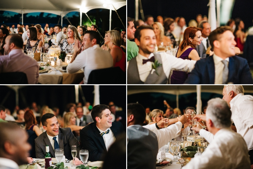Candid wedding photos of guests laughing and toasting