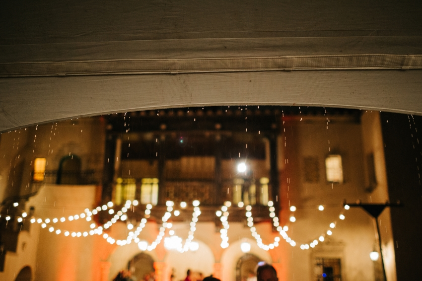 Rainy wedding under the twinkle lights