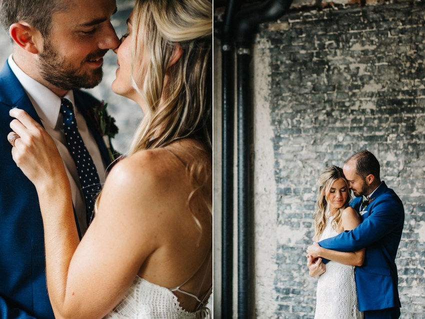 Boho Oxford Exchange wedding in downtown Tampa with modern exposed brick