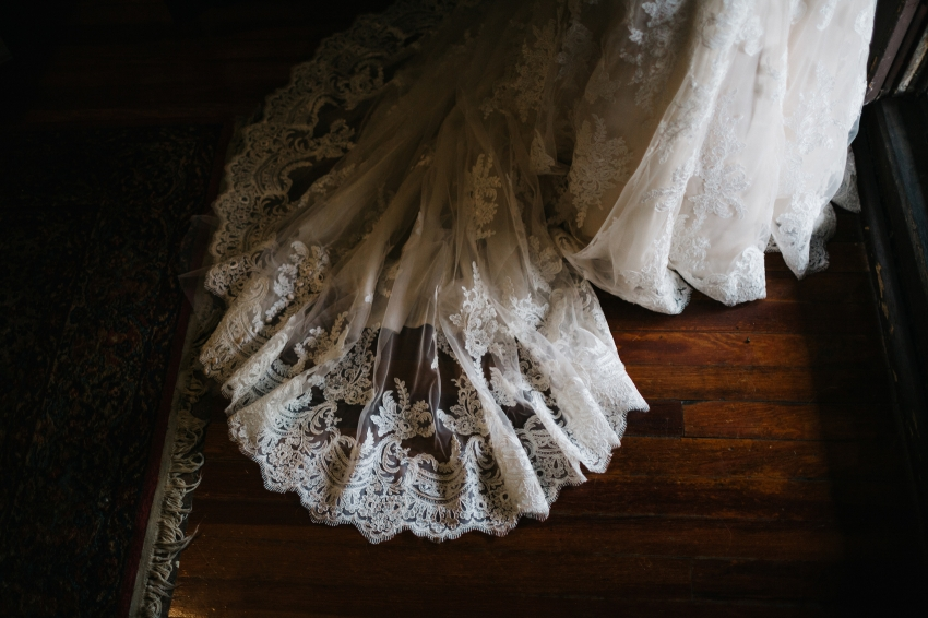lace detailing on the bridal train