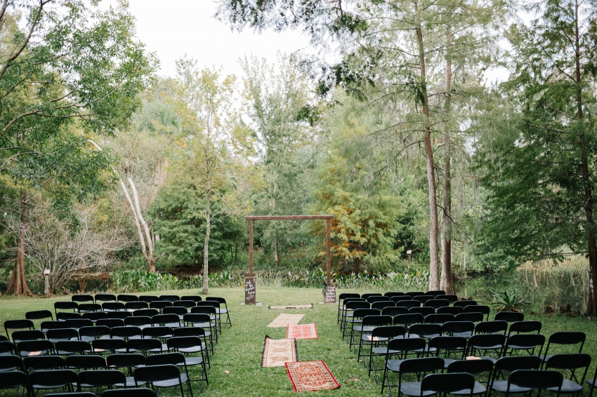 Woodsy boho wedding ceremony at Mead Garden in Orlando