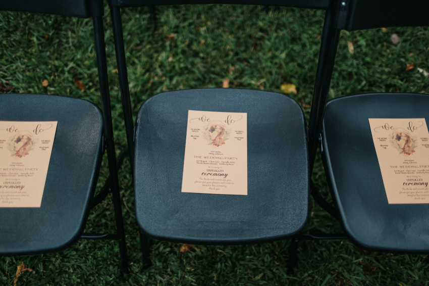 custom DIY wedding programs on kraft paper