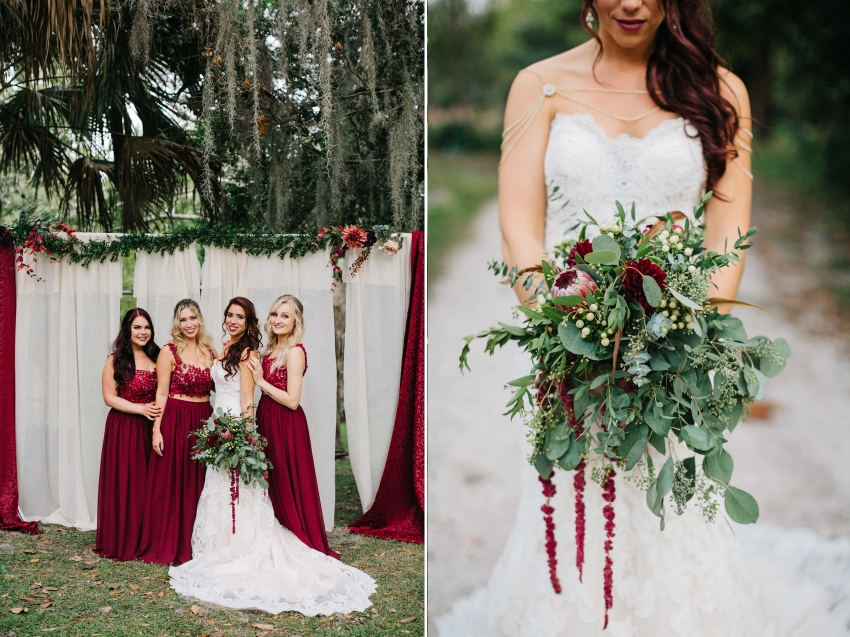 protea and eucalyptus wedding bouquet for boho themed wedding