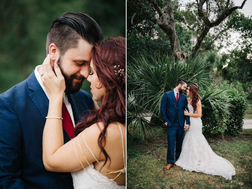 Bride and groom at Mead Garden after outdoor wedding ceremony in Florida