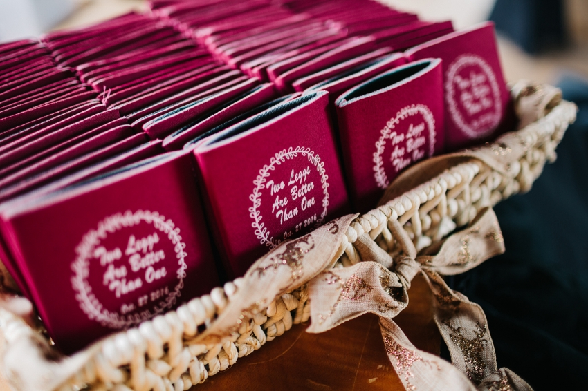Customized wedding koozies with the wedding hashtag