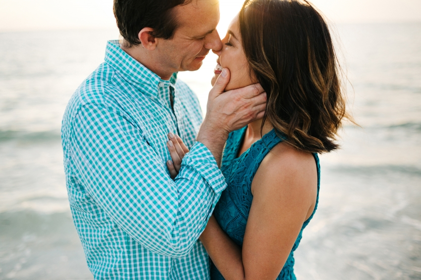 Romantic sunset engagement photography at Fort De Soto Beach in St. Pete Florida