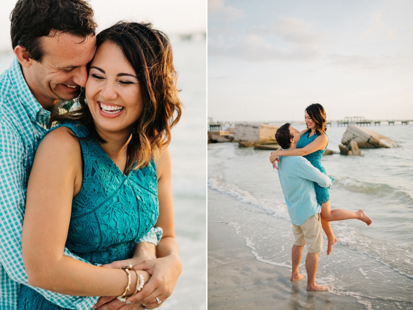 Natural candid engagement photos at sunset on the beach in St. Pete Florida