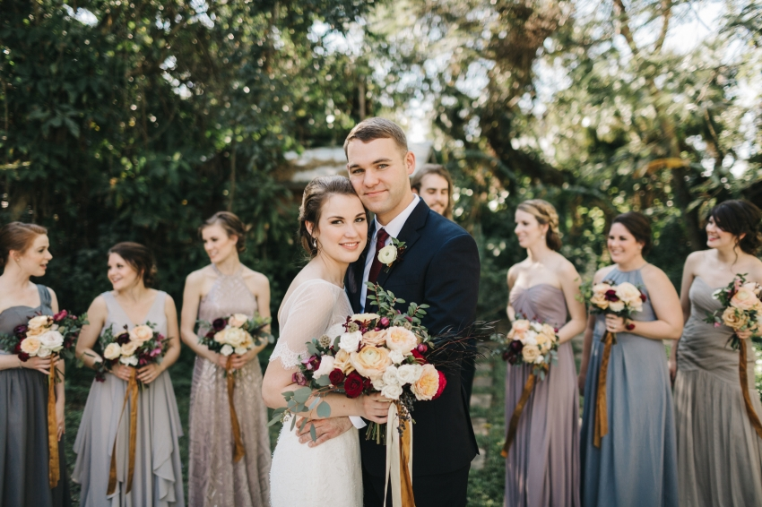 Natural light bridal party photos by Orlando wedding photographer at Waldos Secret Garden