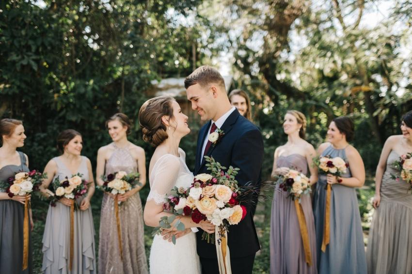Fun, candid bridal party photos at Waldos Secret Garden wedding near Orlando, Florida