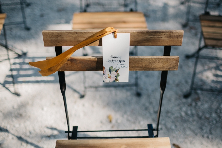 reserved seating sign at the eclectic boho garden wedding ceremony by Orlando Wedding Photographer Renee Nicole Photography