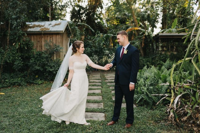 Bride and groom dancing in the garden wedding