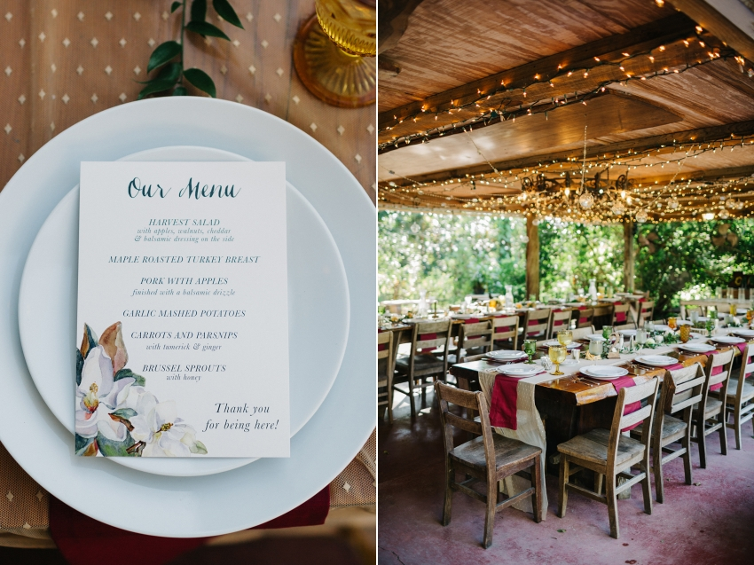 Ecelectic thanksgiving family style wedding reception with burgundy and gold and wood details