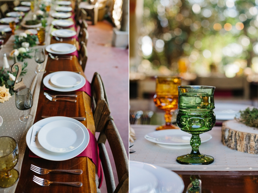 vintage goblets and long farm tables for the Orlando garden wedding reception