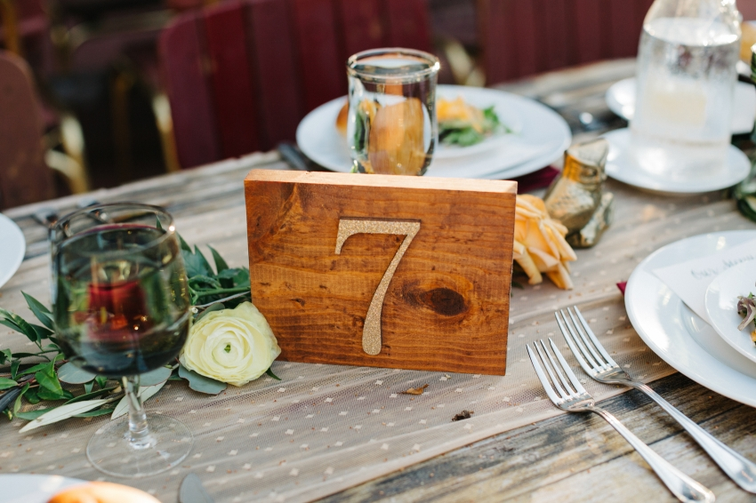 Wood table number with gold number