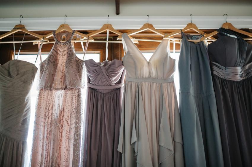 mismatch lavendar and grey bridesmaid dresses