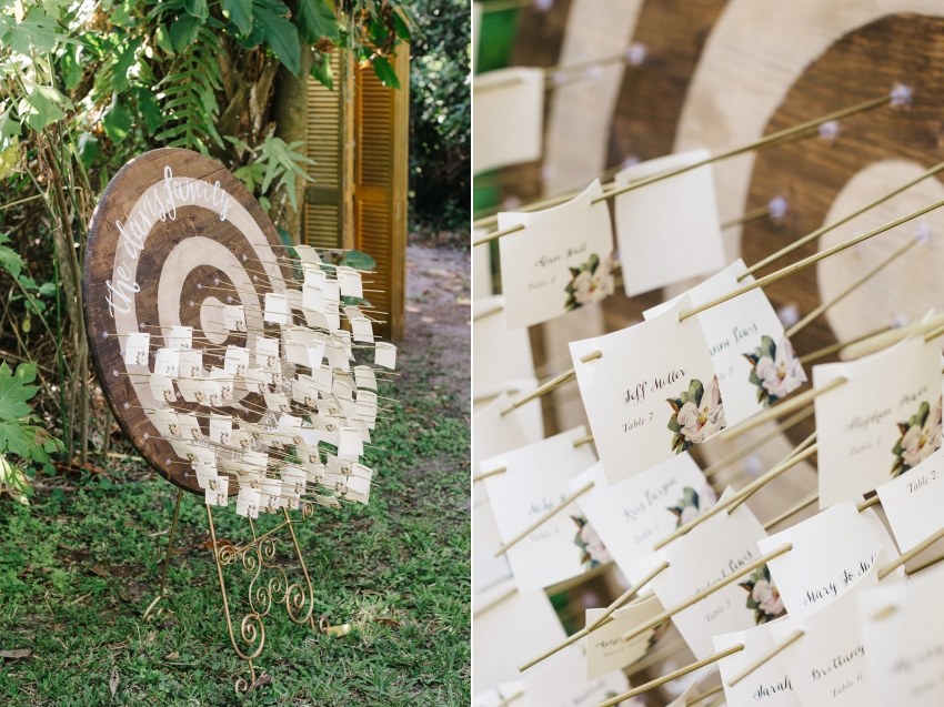 Creative bullseye and arrow seating chart for eclectic outdoor garden wedding