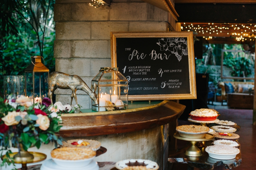 Pie bar with mismatched vintage decor by J'aime Cakes