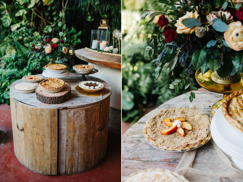 Mismatched Pie dessert bar by J'aime Cakes for outdoor garden wedding in Orlando, Florida