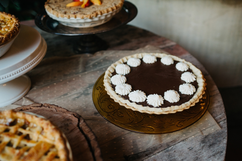 French silk pie by J'aime Cakes for eclectic vintage wedding at Waldo